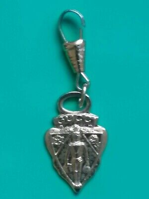 Vtg GUCCI Crest Zipper Pull Key fob Charm necklace brass gold Knight pendand