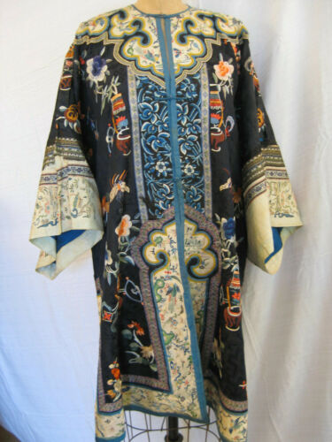 Antique 19th century navy blue Chinese robe with embroidered cuffs & hem