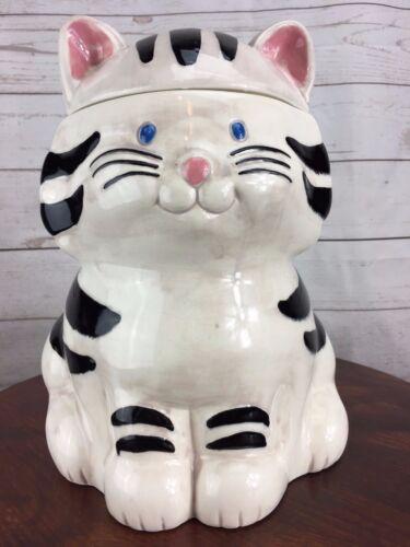Rare Treasure Craft Cat Ceramic Cookie Jar Black & White Novelty Animal Unique
