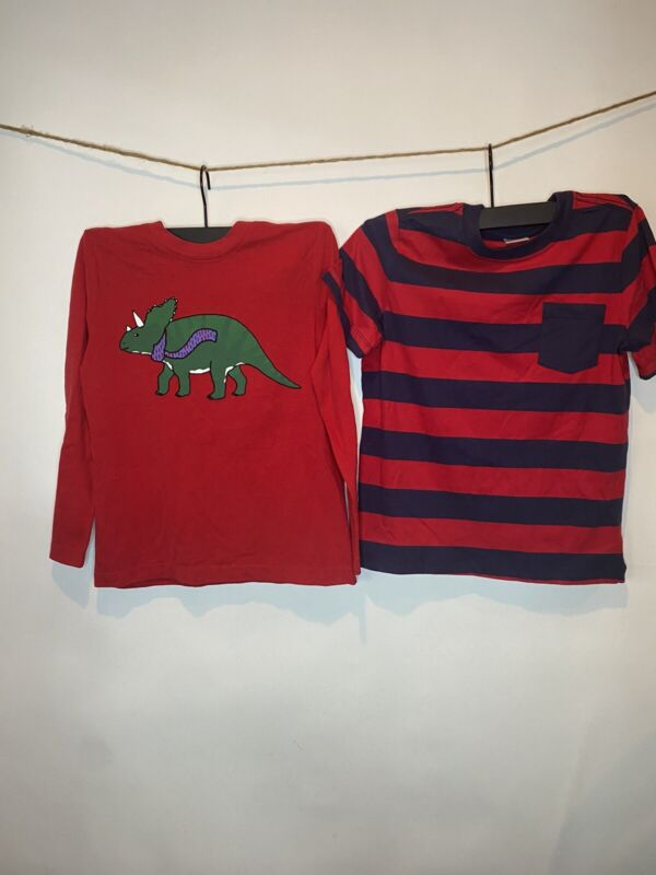 2 HANNA ANDERSSON NWT Shirts Red -Blue SS Stripe & LS Dinosaur 8 130