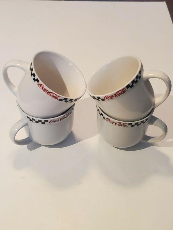 Set Of 4 Coca Cola Checker Board Coffee Cup Mug by Gibson Retro  1950s Diner