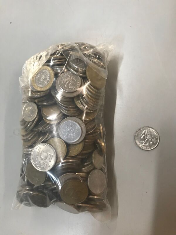 5lb bag of Mixed Foreign Coins - Over 500 Coins