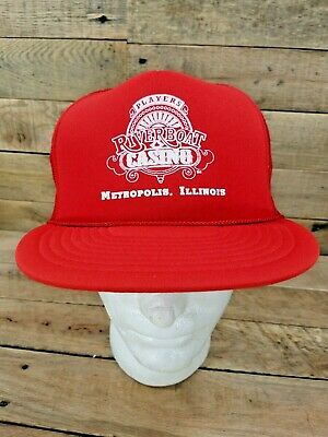 Players Riverboat Casino Metropolis IL Vintage Red Trucker Hat