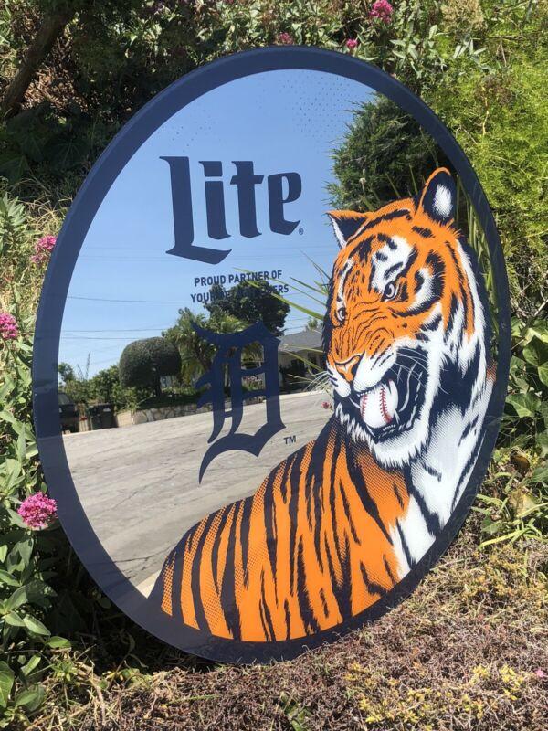 "Miller Lite Detroit Tigers MLB Baseball Beer Bar Pub Man Cave Big Mirror  ""New"""