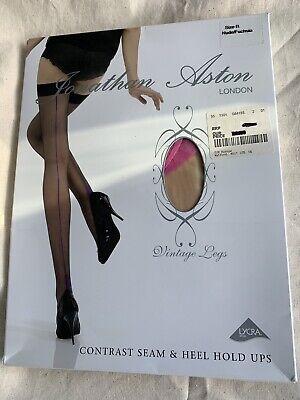 Hold Ups Contrast Seam & Heel Nude/ Fuchsia Size B Jonathan Aston Brand New