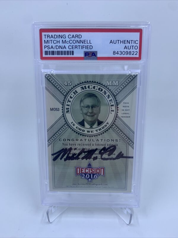 Mitch McConnell Signed 2016 Leaf Decisions Money Card IP Auto PSA/DNA