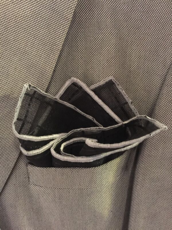 pocket square Black Georgette With Silver Stitched Borders Hand Made