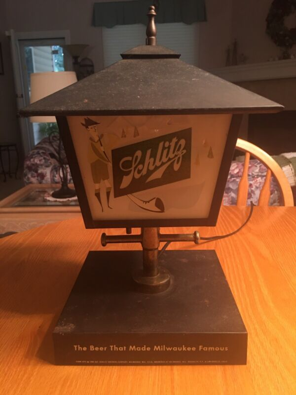 Vintage 1956 Schlitz Beer Lantern Lamp With Glass Sides