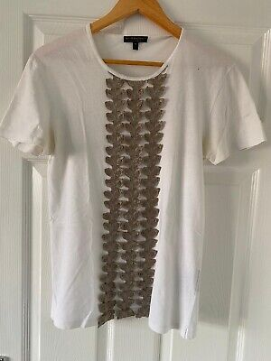 Burberry Prorsum Mens Runway Silver Trim White T-shirt Top (Rare) Sz m