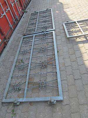 3 Teiliges schmiedeeisenes Gitter Gartentür Hoftor 2 X 195cm breit 97cm hoch
