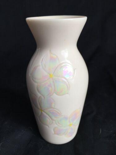 Vintage Dorothy Okumoto Hawaiian Porcelain Rainbow Plumeria Flower Vase