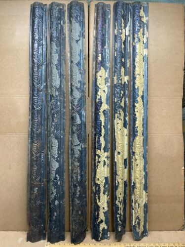 "4pc Lot 48"" x 4"" Molding Antique Ceiling Tin Vintage Reclaim Salvage Craft Art"