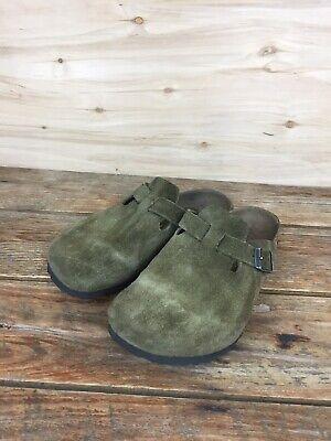 Birkenstock Clog Kids EUR 33 Olive Green Suede Distressed Worn Unisex Child Shoe Olive Suede Kids Shoes