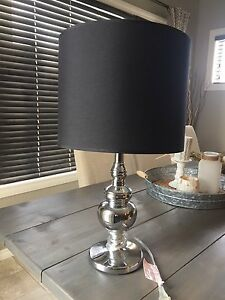 Chrome lamp with black shade