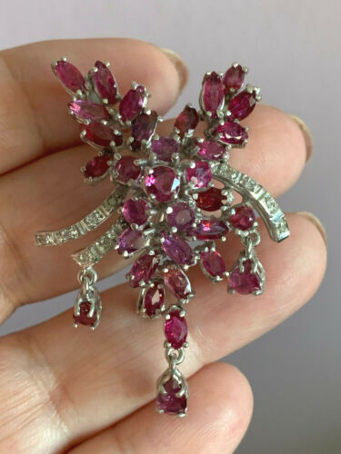 VINTAGE LARGE RUBIES DIAMONDS SLIDE PENDANT NECKLACE PIN BROOCH STERLING SILVER
