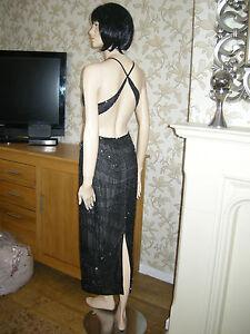 12 ASOS IRIDESCENT BEADED DRESS BACKLESS MIDI BLACK  20'S 30'S VINTAGE GATSBY
