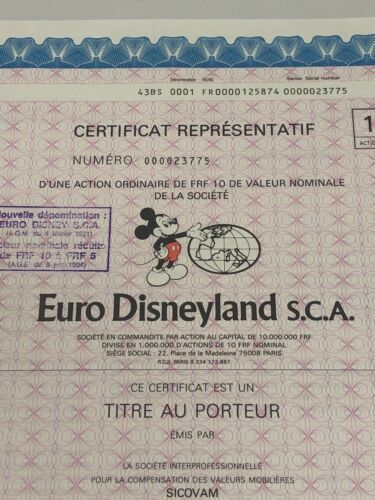 GENUINE EURO DISNEY STOCK CERTIFICATE - EXCELLENT CRISP MINT CONDITION W/MICKEY