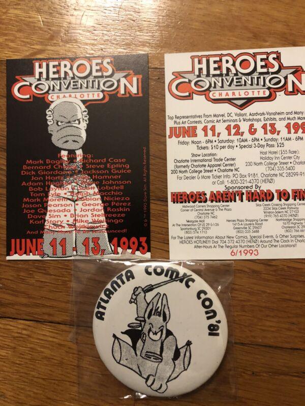 1981 Atlanta Comic Con + 2 Cerebus Dave Sim Heroes Promo Cards Charlotte 1993