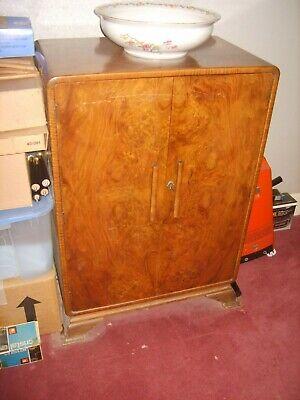 Vintage Art Deco Walnut Cupboard Bedroom Linen Millinery Cabinet
