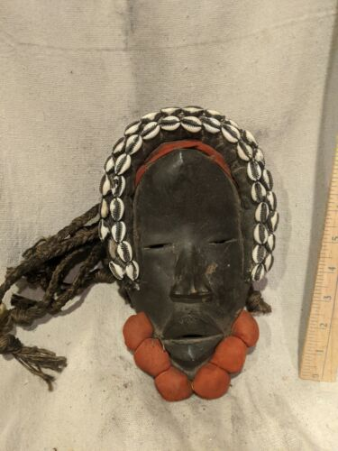Dan Mask with Cowrie Shells and Fabric Balls — Authentic Carved African Wood Art
