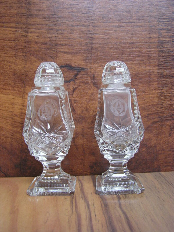 Vintage CUT GLASS CRYSTAL  Salt and Pepper Shakers with Rose Pattern Glass Tops