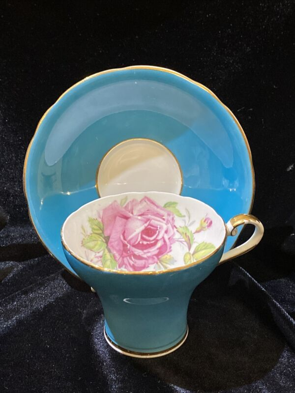 Aynsley Tea Cup and Saucer Teal Blue with Large Pink Cabbage Rose