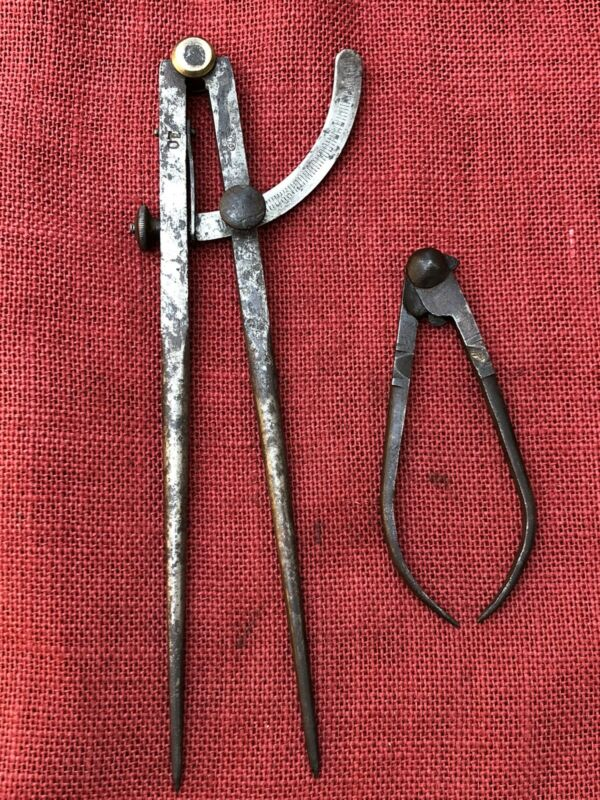 """Old PEXTO 10"""" WING DIVIDER and Vintage or Antique Outside Caliper"""