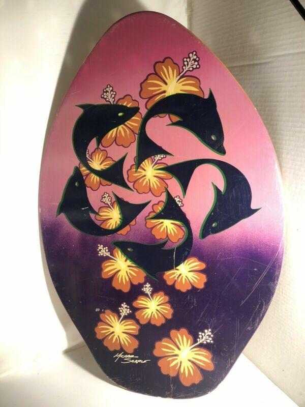Michael Searle Surf Board Skimboard Wood Skim Surfing Dolphins