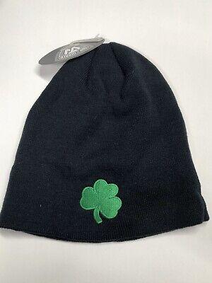 Notre Dame NCAA Black w/ Green Logo  Cuffless Knit Beanie -