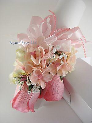 Wedding Prom Rose Roses Hydrangea Silk Flower Pin On Wrist Corsage