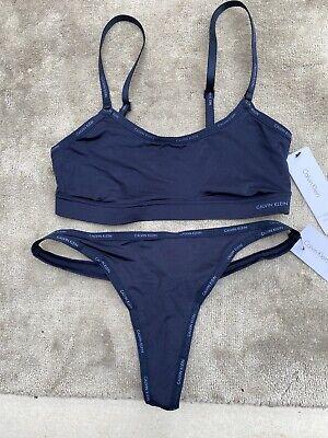 Calvin Klein Underwear Women's Set Navy £85 Size Small Brand New+Tags+Lycra