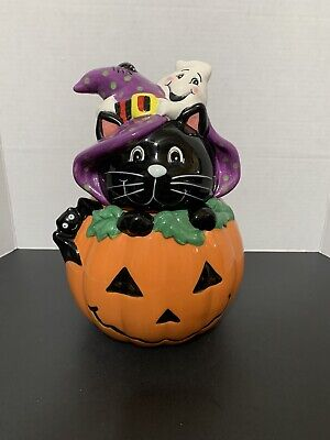 DAVID'S COOKIES Halloween Cookie Jar Black Cat Ghost Spider Bat Pumpkin CUTE