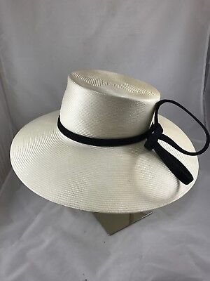 PHILIP TREACY Natural Wide Brim Hat with Black Structured Bow- AUTHENTIC