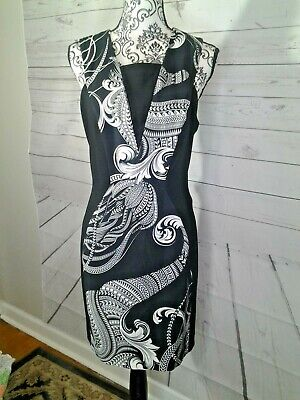 VERSACE Collection Black White  Barocco Print Sleeveless Dress Size 8