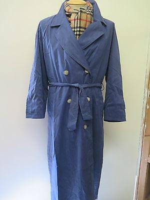 Genuine Burberry Blue Mac Trench Coat Raincoat Size UK 14  Euro 42