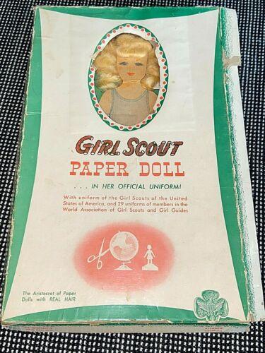 Vintage 50s De Journette Girl Scouts Paper Doll Real Hair International Uniforms