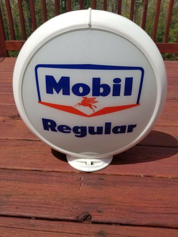 Vintage Original Mobil Pegasus Regular Gas Pump Globe - Complete