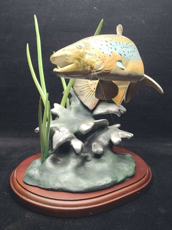 """Danbury Mint Sculpture Trout Lure Fish """"Noble Brown"""" By Frank Dutzler"""