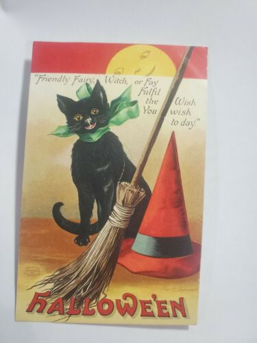Halloween Black Cat & Moon Fairy Witch Red Hat Broom Antique Clapsaddle PostCard