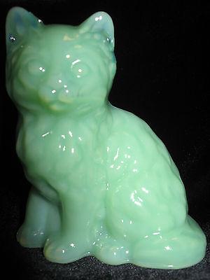 Jadeite art glass Cat Kitten paperweight kitty art jadite jade Green milk opaque