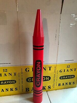 """Giant Crayola Crayon Coin Bank 35"""" Fantazia 1988 New Stock Red (Red Crayola Crayon)"""