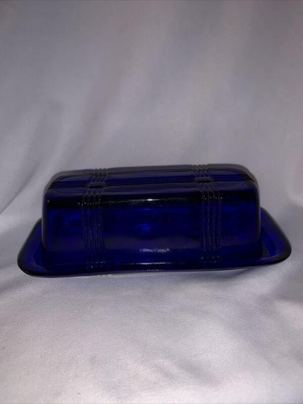 Vintage Original Hazel Atlas Criss Cross Butter Dish 1/4 Pound - Cobalt Blue