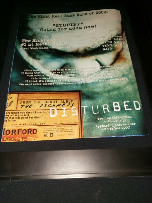 Disturbed Stupify Rare Original Radio Promo Poster Ad Framed!