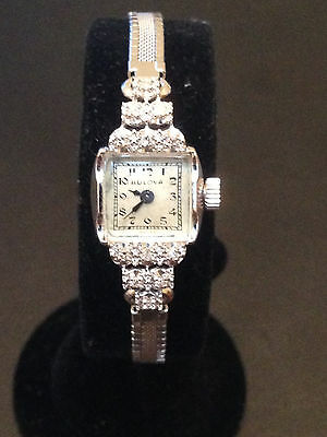 Vintage Ladies Bulova 14K White Gold and Diamond Watch