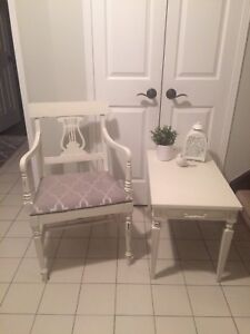Shabby chic refinished arm chair and side table