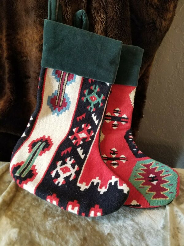 Southwest navajo Design Christmas Stockings LOT OF 2 FELT TRIM REINFORCED HOOKS
