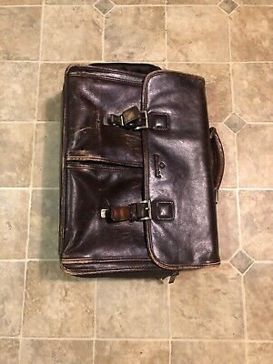 Samsonite Vintage Leather Flap Over Laptop Messenger Bag Briefcase Multi Pockets
