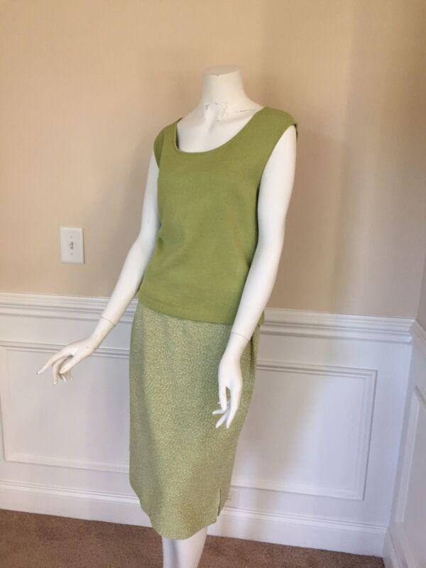 ST. JOHN COLLECTION Size 12 Green Knit 2pc Vest Skirt Set
