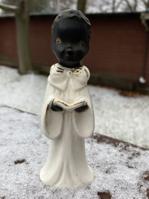 Vintage Christmas Black African Choir Boy Porcelain Figurine (Lefton Japan) #29