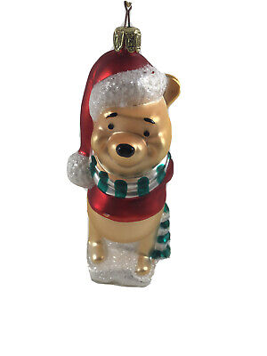 Disney Winnie the Pooh Mouth Blown Glass Christmas Tree Ornament Santa's Best